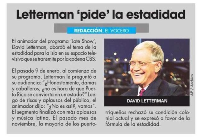 Letterman se expresa a favor de la Estadidad de Puerto Rico